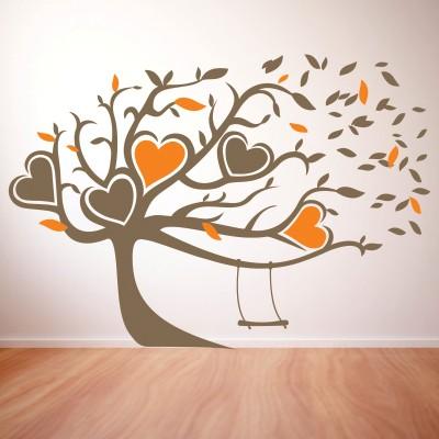 Adesivo murale albero con altalena stickers murali - Albero su parete ...