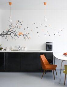 adesivo murale albero uccellini foglie