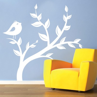 Adesivo murale uccellino sull 39 albero stickers murali - Adesivo albero ikea ...