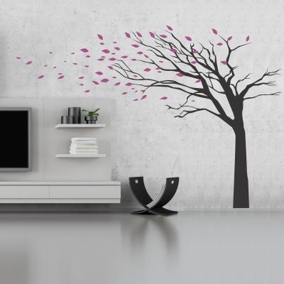 Adesivo murale albero foglie al vento stickers murali for Adesivi decorativi per pareti
