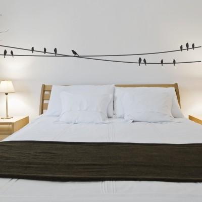 Adesivo murale uccelli sui fili della luce stickers murali - Adesivi parete camera da letto ...