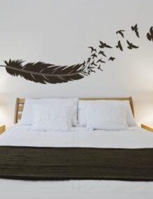 adesivo murale animale uccelli volo piuma