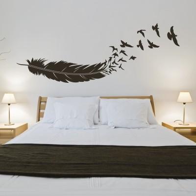 adesivo murale uccelli in volo dalla piuma stickers murali