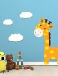 adesivo murale bambino giraffa nuvolette