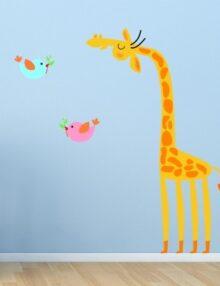 adesivo murale bambino giraffa uccellini