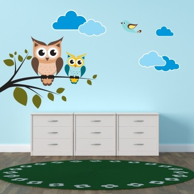 Gufi e gufetti per decorare con adesivi murali stickers for Decorare una stanza per bambini