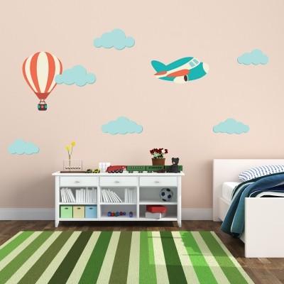 Adesivo murale mongolfiera e aeroplano stickers murali - Stickers cameretta bambino ...