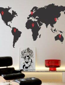 adesivo murale citta mappamondo paesi visitati