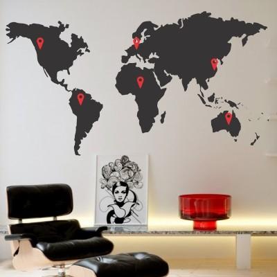 Adesivo murale mappamondo paesi visitati stickers murali for Stickers pareti