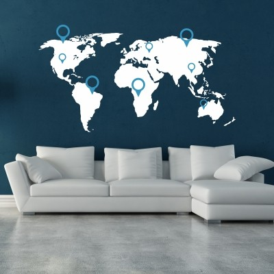 Wall stickers con mappe e cartine del mondo stickers murali - Decorazioni stencil murali ...