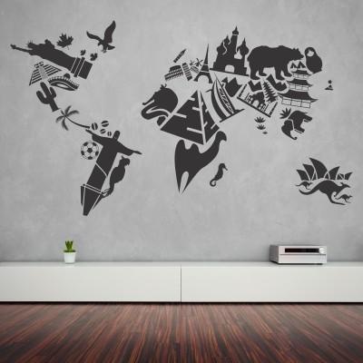 Cartina Del Mondo Da Parete.Wall Stickers Con Mappe E Cartine Del Mondo Stickers Murali