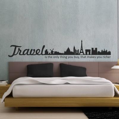 Adesivo murale travel makes you richer stickers murali for Stencil scritte per pareti