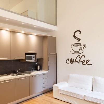 Wall stickers con il caff una cucina calorosa stickers - Decorare la cucina ...
