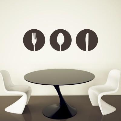 Adesivo murale posate minimal stickers murali for Paraschizzi adesivo cucina