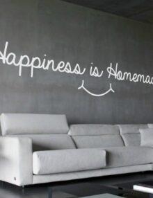 adesivo murale frase happiness homemade