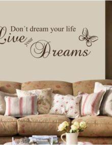 adesivo murale frase live your dreams