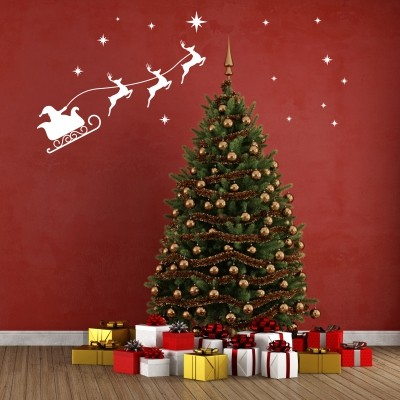 Adesivi Murali Natale.Adesivo Murale Babbo Natale Con Le Renne Stickers Murali