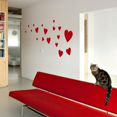 Adesivo murale mille cuori stickers murali - Dipinti camera da letto ...
