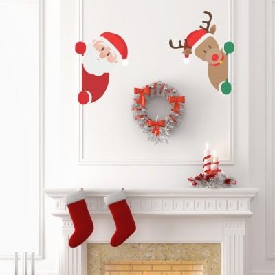 Adesivo murale babbo natale e rudolph stickers murali - Adesivi natalizi per finestre ...